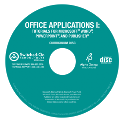 2015 Switched-On  Office Applications I: Tutorials for Microsoft Word, PowerPoint, and Publisher - Product Image
