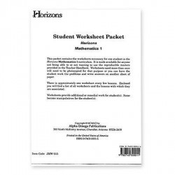 Horizons 1st Grade Math Worksheet Packet - Product Image