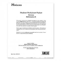 Horizons Kindergarten Math Worksheet Packet - Product Image